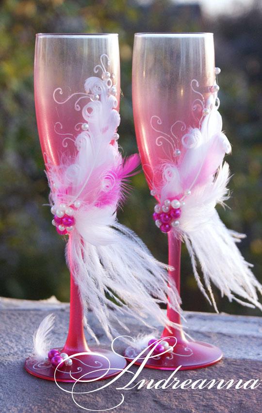 Свадебные бокалы «lady bird», в любом цвете, стоимость 750грн;