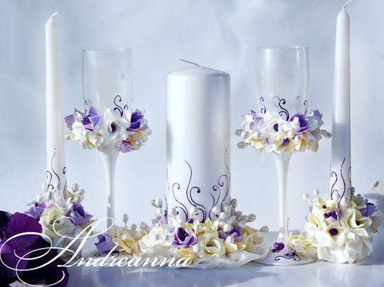 Свадебные свечи «лиловая фрезия и гардения», на перламутрово-жемчужном фоне, стоимость 650грн набор, (в любом оттенке).