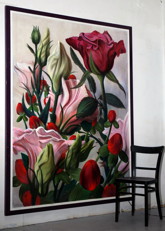 """Lukas Johannes Aigner, """"Blumenstillleben"""", Acryl auf MDF, 2011"""