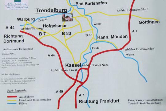 Wij danken het 'Tourismusbüro Trendelburg' (VVV) voor het schemaatje voor de reisroute.