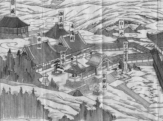 再建された承陽殿・孤雲閣等(東川寺所蔵図より)