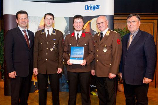 v.l.: Dräger Safety Austria-GF Johann Karmel, OV Georg Crepaz, FM Thomas Tanzer, LBD KOMMR Josef Buchta, Moderator Josef Broukal