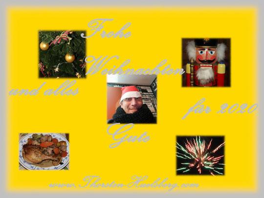 Hier sieht man die Weihnachtskarte in Gold und Silber von Thorsten Hülsberg mit fünf saisonalen Motiven und der Aufschrift Frohe Weihnachten und alles Gute für 2020 www.Thorsten-Huelsberg.com.