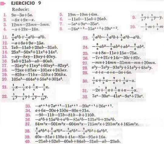 Algebra de Baldor - ejercicio 9 - pagina 21