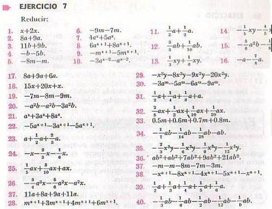 Algebra de Baldor - ejercicio 7 - pagina 19