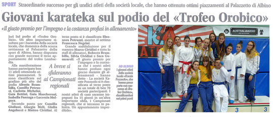 Giovani karateka sul podio del Trofeo Orobico