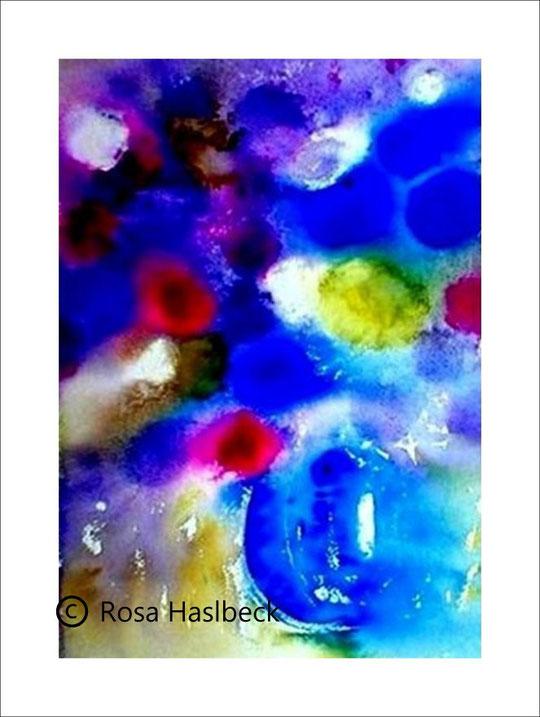 aquarell, blumenaquarell, blumenstrauß, blumen, vase, blau, rot, kunst, bild, kaufen,