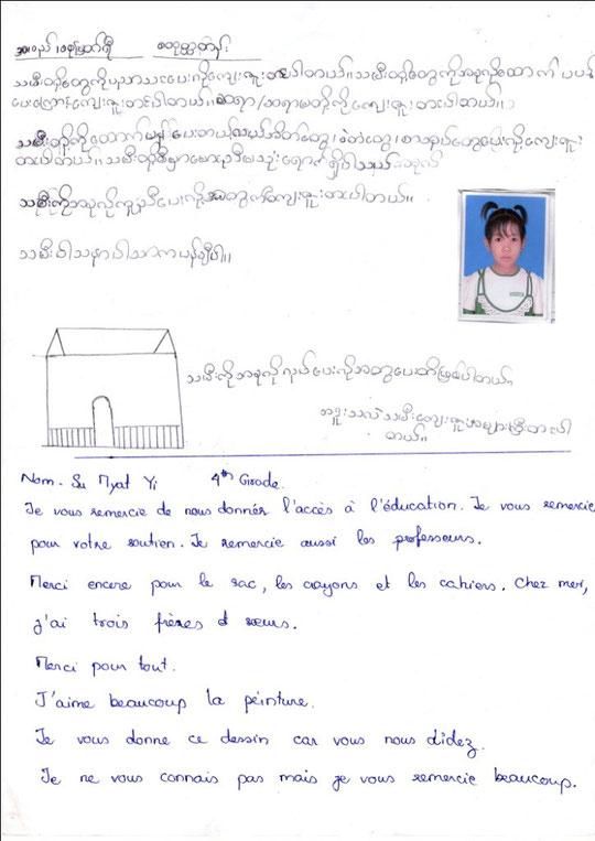 Ma SU MYAT YI - fille - 9 years (13.11.03) - CM2 - MÈRE DÉCÉDÉE - 2 FRÈRES ET SOEUR - REVENUS du FOYER : 27 €.