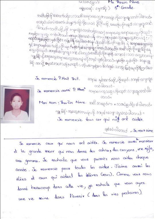 Ma THAZIN NWE - fille - 11 ans  (13.7.01) CM2 - père décédé ; ÉLEVÉE PAR SA MÈRE AVEC SES 4 FRÈRES ET SOEURS.