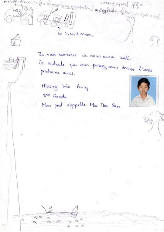 Mg HLAING WAI AUNG - garçon - 7 years  (28.8.2005) -  CE2 - REVENUS DU FOYER : 25 €.