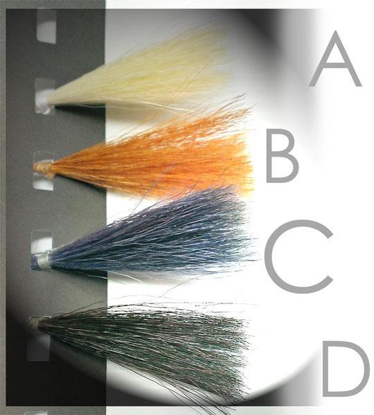 [A]白い羊毛 → [B]ヘナパック後 → [C]インディゴパック直後 → [C]インディゴパック後2時間経過