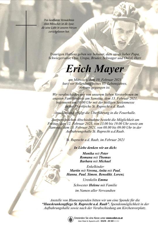 Die MFG Weiz trauert um Erich Mayer