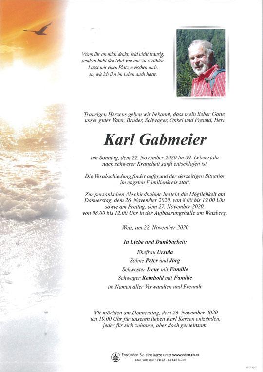 Die MFG Weiz trauert um Karl Gabmeier