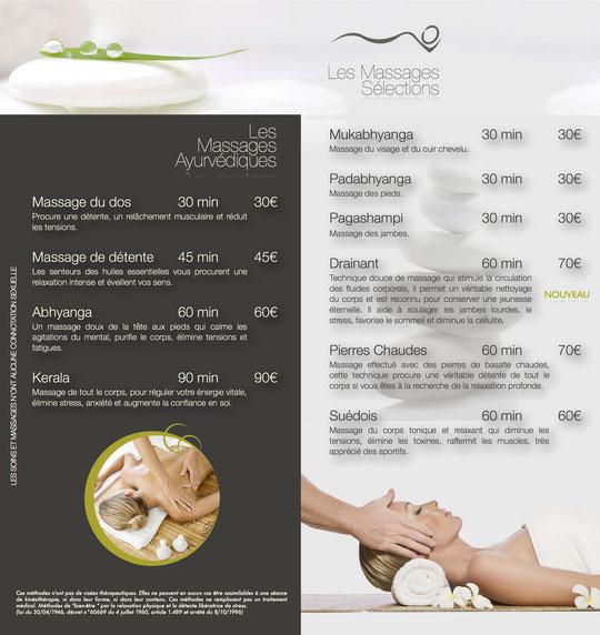 Tarifs natura massage