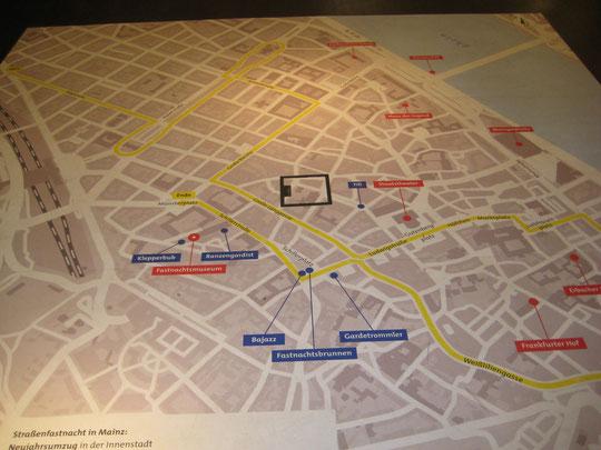 Karte des Zugweges des Rosenmontagzuges
