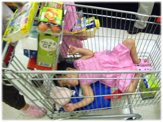 Pictures of a cute Korean child sleeping in a supermarket cart trolley. Bilder von einem koreanischen Kind das in einem Einkaufswagen für Lebensmittel und Essen schläft. Bild aus Südkorea.