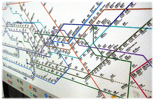This is an image of the Seoul subway map. It can explain the map for tourists and holiday travellers.