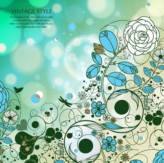 ヴィンテージ スタイル 花の背景 Vintage style flowers Vector Graphic