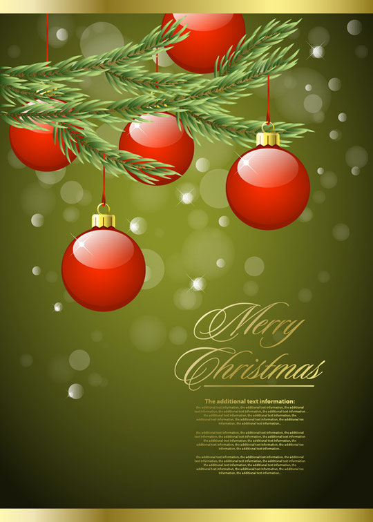赤いクリスマス ボールの背景 Christmas trees ornaments