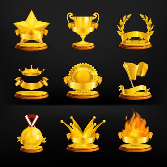 金色に輝く表彰グッズ GOLD MEDAL ICON VECTOR