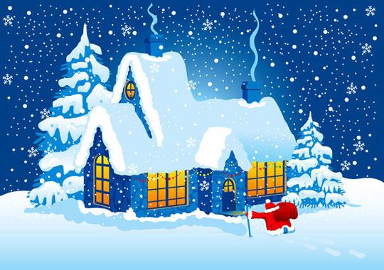 月明かりのクリスマスの夜景 vector christmas night with moon2