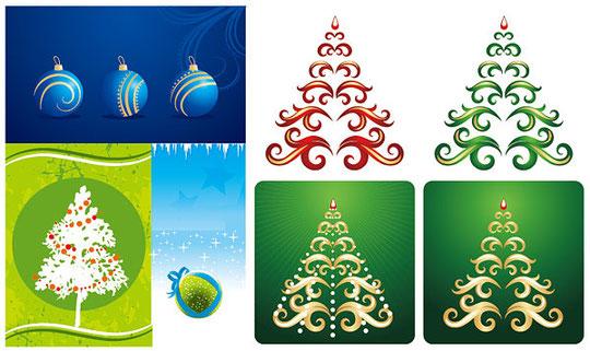クリスマス・ツリーをイメージしたイラスト CHRISTMAS HANGING BALL, RIBBON VECTOR