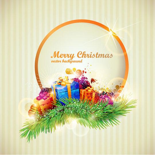 華麗なクリスマス プレゼントの背景 BRILLIANT CHRISTMAS GIFT BOX VECTOR