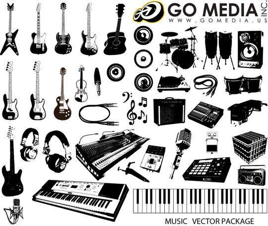 楽器の線画 Music Instruments Vector Graphics