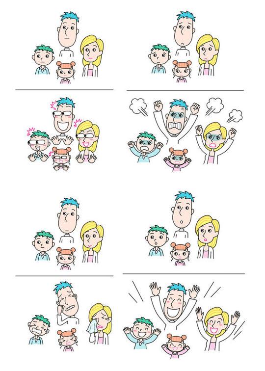家族の感情を表すイラスト EMOTIONS OF A FAMILY OF FOUR