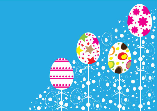 カラフルなイースターの飾り付け Easter colorful ornaments design