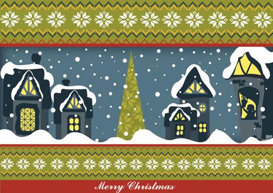 雪景色のクリスマスの夜 Christmas cartoon snow night
