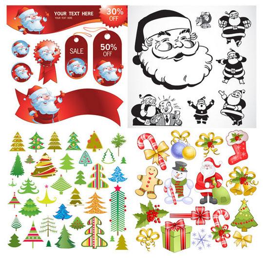 サンタクロースのクリスマス素材 SANTA CLAUS, TAG, CRUTCHES, BOW, SOCKS, SNOWFLAKE