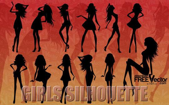 美しい女性のシルエット Silhouette of beautiful girls