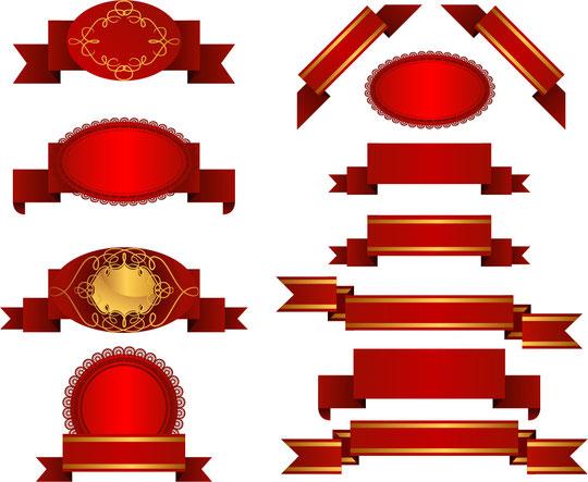 数種類の赤いリボン SEVERAL RED RIBBON VECTOR