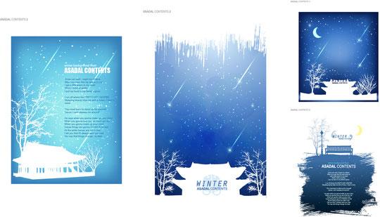 冬をイメージしたフレームとカード テンプレート winter snow scene Vector material1