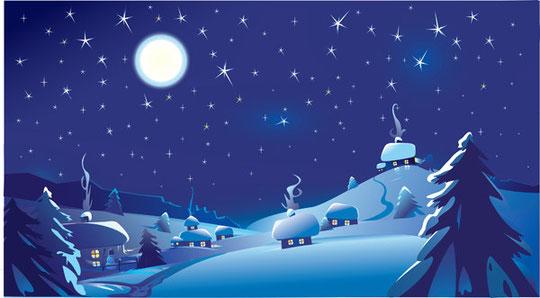 月明かりのクリスマスの夜景 vector christmas night with moon4