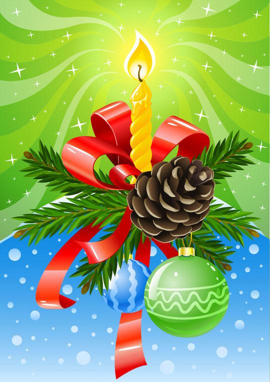 美しいクリスマスのロウソク飾り BEAUTIFULLY DECORATED CHRISTMAS VECTOR