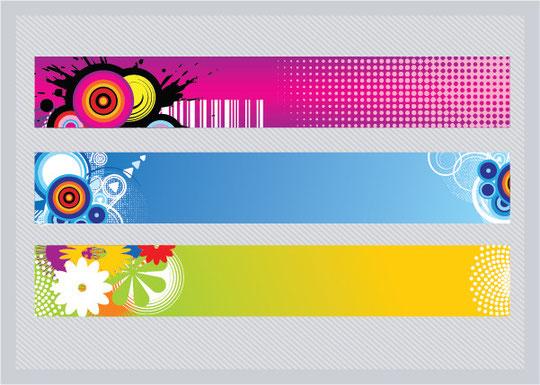 カラフルなバナー 3種 Vector Colorful Banners
