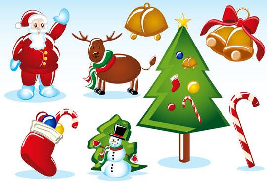 クリスマス飾りのイラストとフレーム 2 sets of christmas vector1