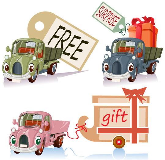 プレゼントを運ぶオモチャのトラック cartoons toys cars with gifts