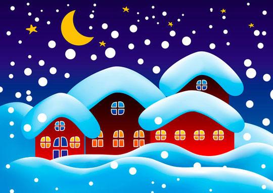 月明かりのクリスマスの夜景 vector christmas night with moon3