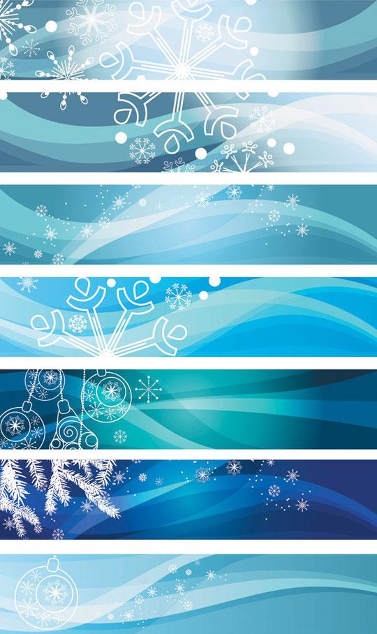 雪を描いた青いクリスマスのバナー blue vector christmas background3