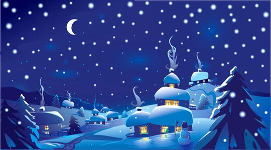 月明かりのクリスマスの夜景 vector christmas night with moon5