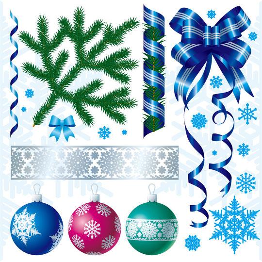 クリスマスの飾り付け用素材 CHRISTMAS DECORATION VECTOR MATERIAL