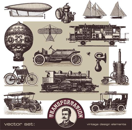 古風な乗り物のイラスト old-fashioned transport vector