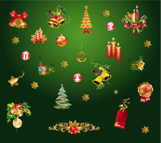 金色のクリスマス飾り gold christmas decorative elements 1