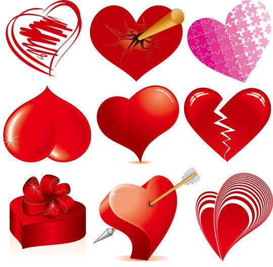 色々なハートのイラスト Love Heart Vectors Graphic