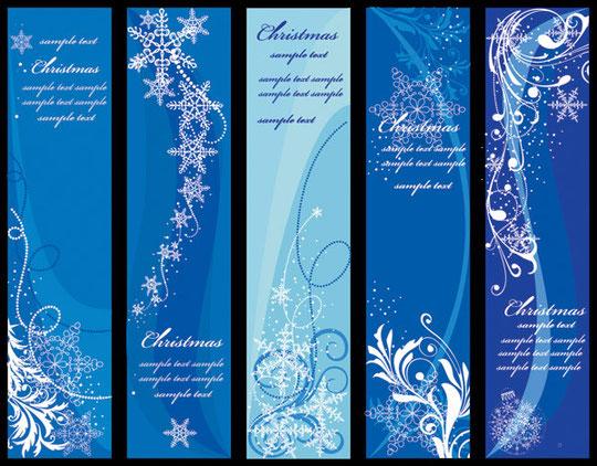 雪を描いた青いクリスマスのバナー blue vector christmas background1