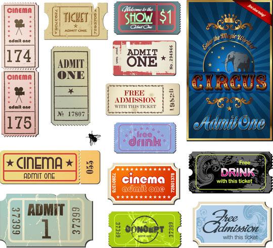 ヴィンテージな映画のチケット Vintage Movie Ticket Vector Set