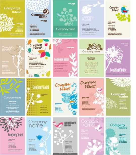 植物柄の名刺テンプレート Set of Floral Business Cards